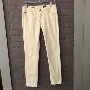 AG  Pale Yellow Cigarette Pants 28